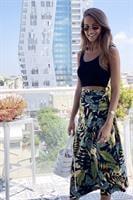 חצאית מעטפת הדפס טרופי עלים שחור-צהוב