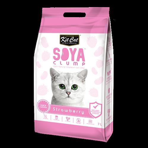 חול מתגבש לחתול על בסיס סויה בריח תות 7 ליטר