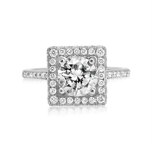 טבעת אירוסין מרובעת זהב לבן 2.19 קראט|טבעת יהלומים מרובעת