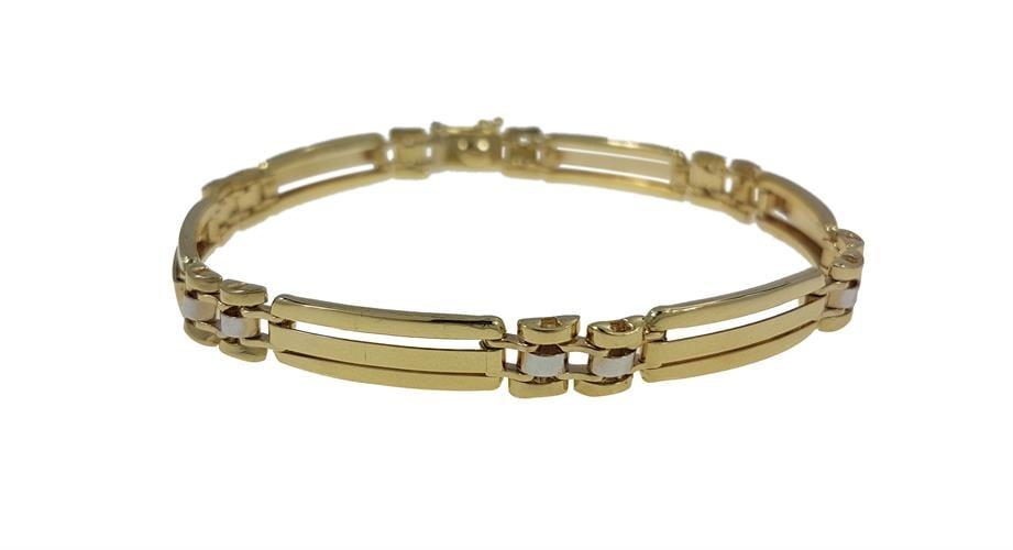 צמיד זהב צהוב 14 קרט חוליות לגבר