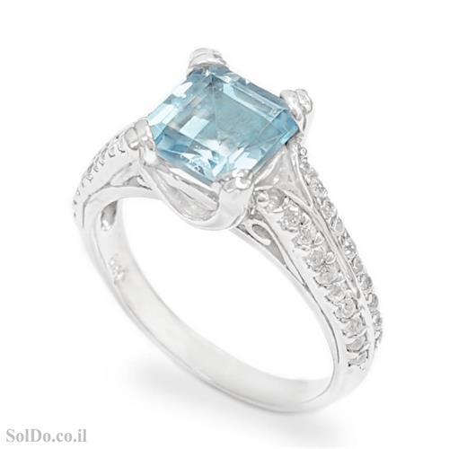 טבעת מכסף משובצת אבן טופז כחולה וזרקונים RG6131 | תכשיטי כסף 925 | טבעות כסף