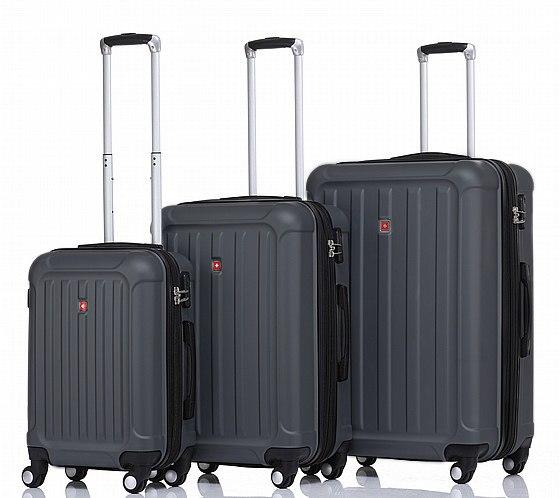 סט 3 מזוודות איכותיות SWISS ALPS - צבע אפור כהה