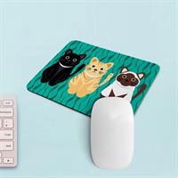 פד מעוצב לעכבר | משטח לעכבר מחשב דגם חתולים טורקיז