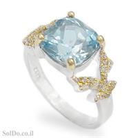 טבעת מכסף משובצת אבן טופז כחולה, אבני זרקון וציפוי גולדפילד RG8767   תכשיטי כסף 925   טבעות כסף