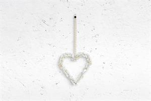לב כפתורים - לבן