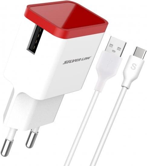 מטען מהיר וכבל SILVER LINE USB to Type C
