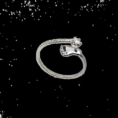 טבעת כף רגל זהב לבן 14K שיבוץ  זירקון OP03160019171