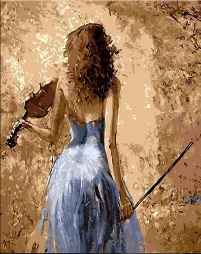 צביעה לפי מספרים - נערה עם כינור