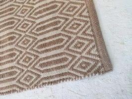 שטיח כותנה מעויינים ארוך - טבעי ופודרה