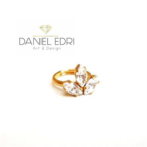 טבעת 3 אבנים קריסטלים- זהב