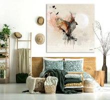 ציור של ציפור אומנות לחדר שינה