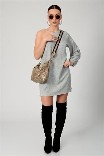 שמלת סריג קטי אפור מלאנז
