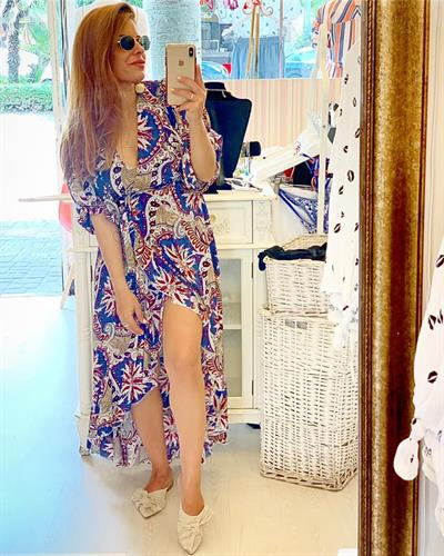 שמלת ג׳ו מעטפת - פרינט כחול