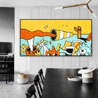 ציור פופ ארט צבעוני לעיצוב הבית של האמן כפיר תג'ר