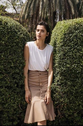 חצאית עור לונה פודרה