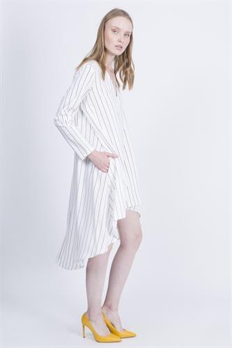 שמלת סלינה לבן פסים