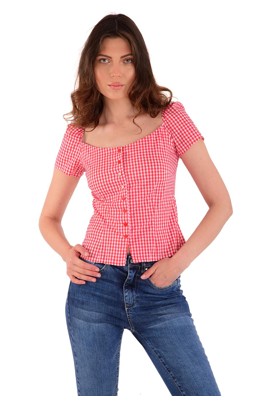 חולצה ניקי משבצות אדום ולבן