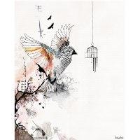 ציור גותי ציפור עפה מכלוב