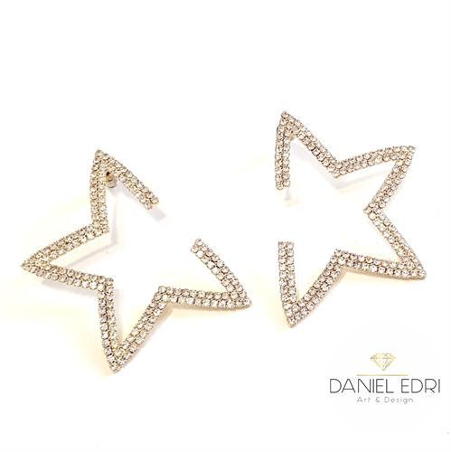עגיל כוכב פתוח קריסטלים- זהב