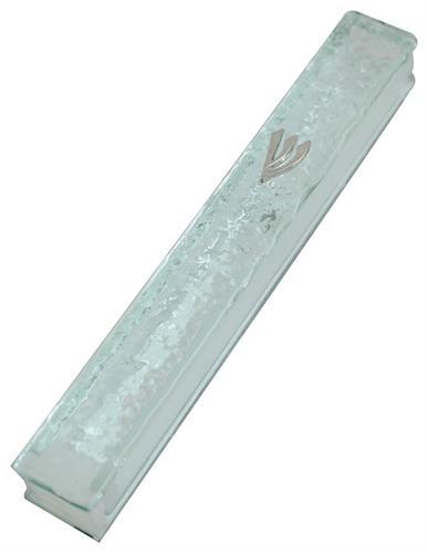 """בית מזוזה זכוכית 15 ס""""מ """"זכוכית שבורה"""" פקק סיליקון"""