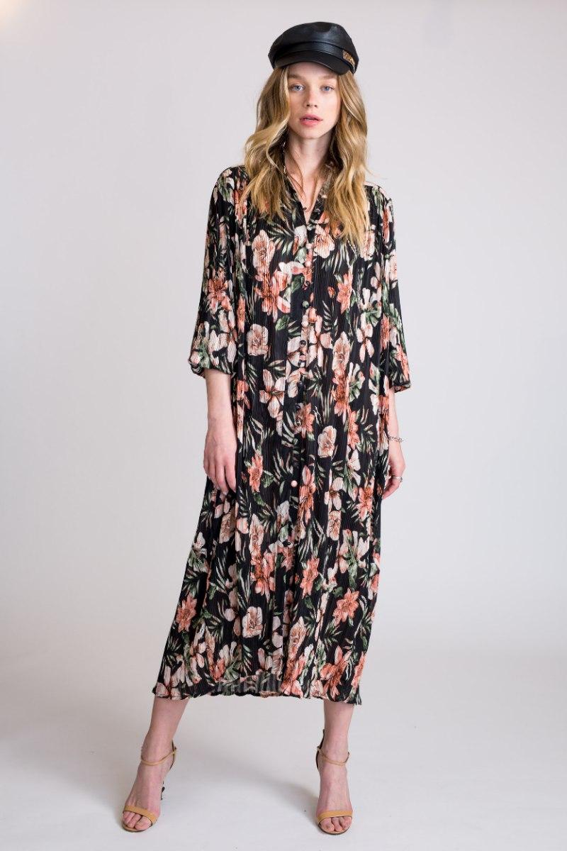 שמלת פליסה פרחים שחור