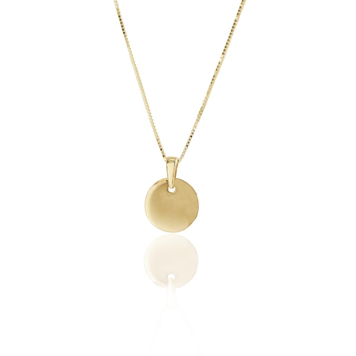 שרשרת תליון עגול מזהב קטן| תליון זהב פלטה לחריטה