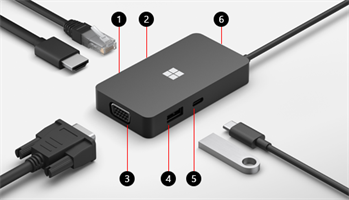 תחנת עגינה Microsoft USB-C® Travel Hub