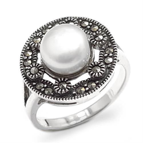 טבעת כסף משובצת מרקזטים ופנינה לבנה RG8500 | תכשיטי כסף 925 | טבעות כסף
