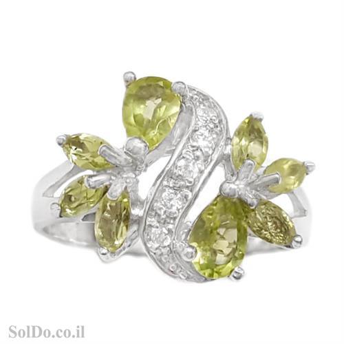 טבעת מכסף משובצת אבני פרידוט וזרקונים RG6078 | תכשיטי כסף 925 | טבעות כסף
