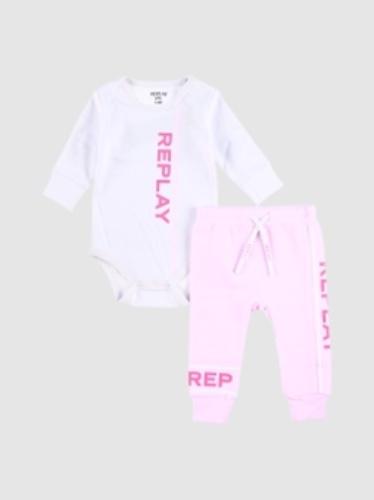 REPLAY סט בגד גוף ומכנסיים ורוד מידות 0-24 חודשים