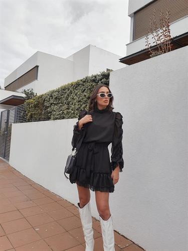 שמלת נואל אקורדיון - שחורה