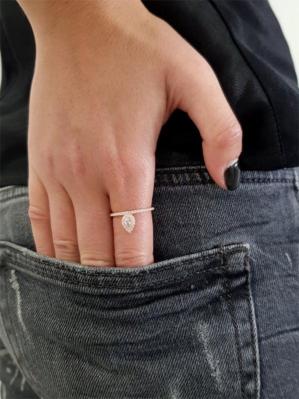 טבעת טיפה Rose Gold