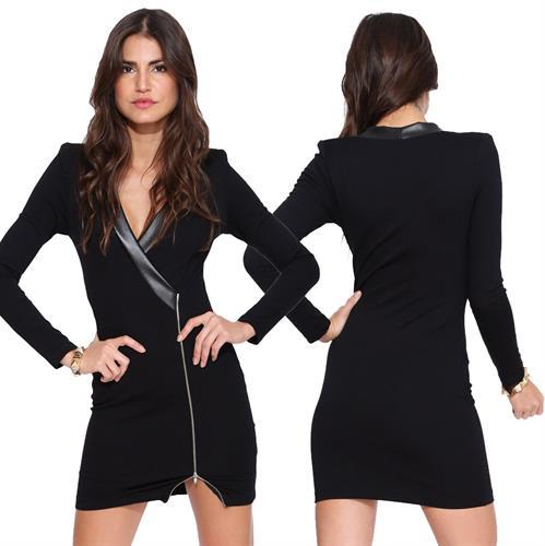 שמלת מיני סקסית שרוול ארוך צווארון V