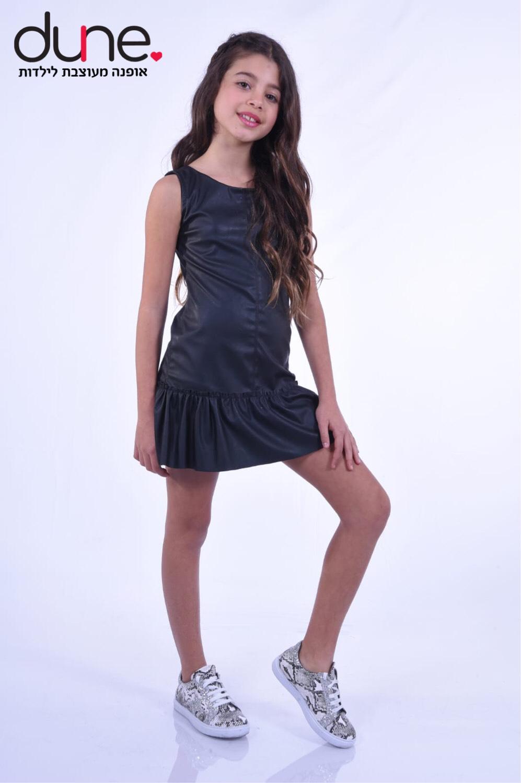 שמלת דמוי עור ללא שרוולים