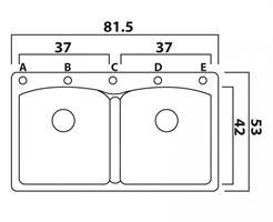 כיור מטבח כפול תוצרת פרנקה שוויץ דגם אליפס 62D
