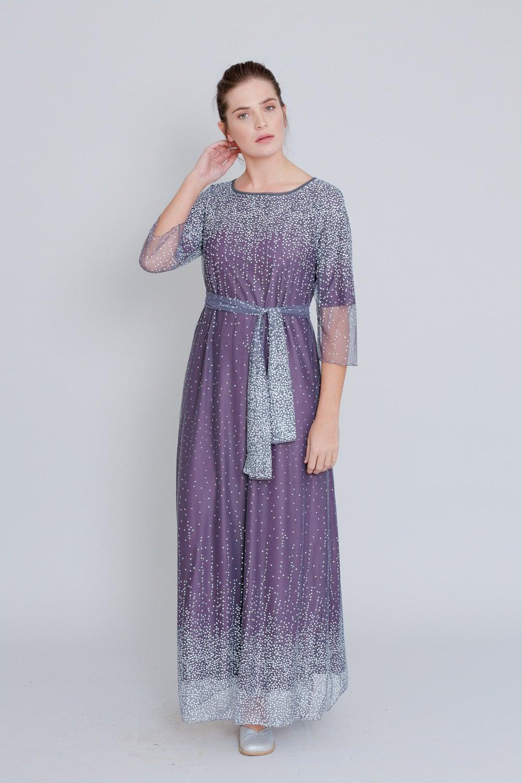 שמלת שלג מקסי אפור סגול