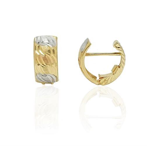 עגילי חצי חישוק זהב עבים בינוניים מרוקעים ב3 צבעי זהב