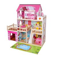 בית בובות עץ לילדים ורוד דגם ענת W06A333C עם תאורת לד צבעונית