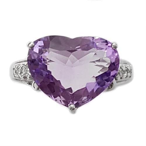 טבעת כסף לב משובצת אמטיסט סגול וזרקונים RG5587 | תכשיטי כסף 925 | טבעות כסף