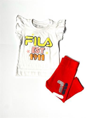 חליפה חולצה לבנה טייץ אדום עם לוגו FILA