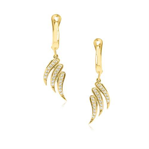 עגילי זהב כנפיים נתלים עם יהלומים 0.30 קראט