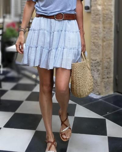 חצאית נקודות פריזאית - תכלת