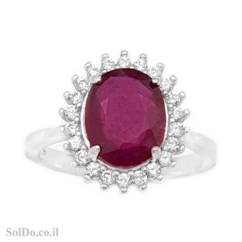 טבעת מכסף משובצת אבן רובי אדומה ואבני זרקון RG1713 | תכשיטי כסף 925 | טבעות כסף