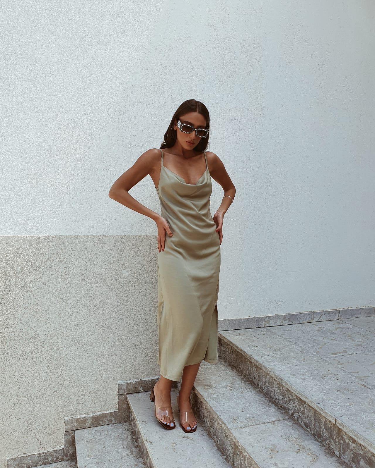 שמלת מידי דונה ליידי - ירוק תפוח