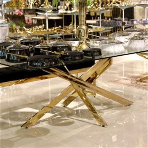 שולחן סועדים נירוסטה זהב מגיע בצבע: זהב מידות: 200x100x75H