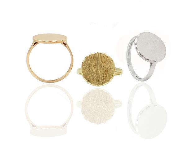 טבעת חותם עם חיתוך יהלום לייזר זהב 14 קרט ניתן לחרוט