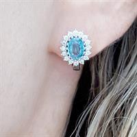 עגילים ותליון מכסף משובצים אבני טופז כחולות וזרקונים S1570