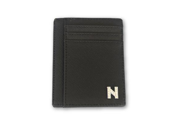 ארנק דמוי עור שחור עם אות כסף משובצת