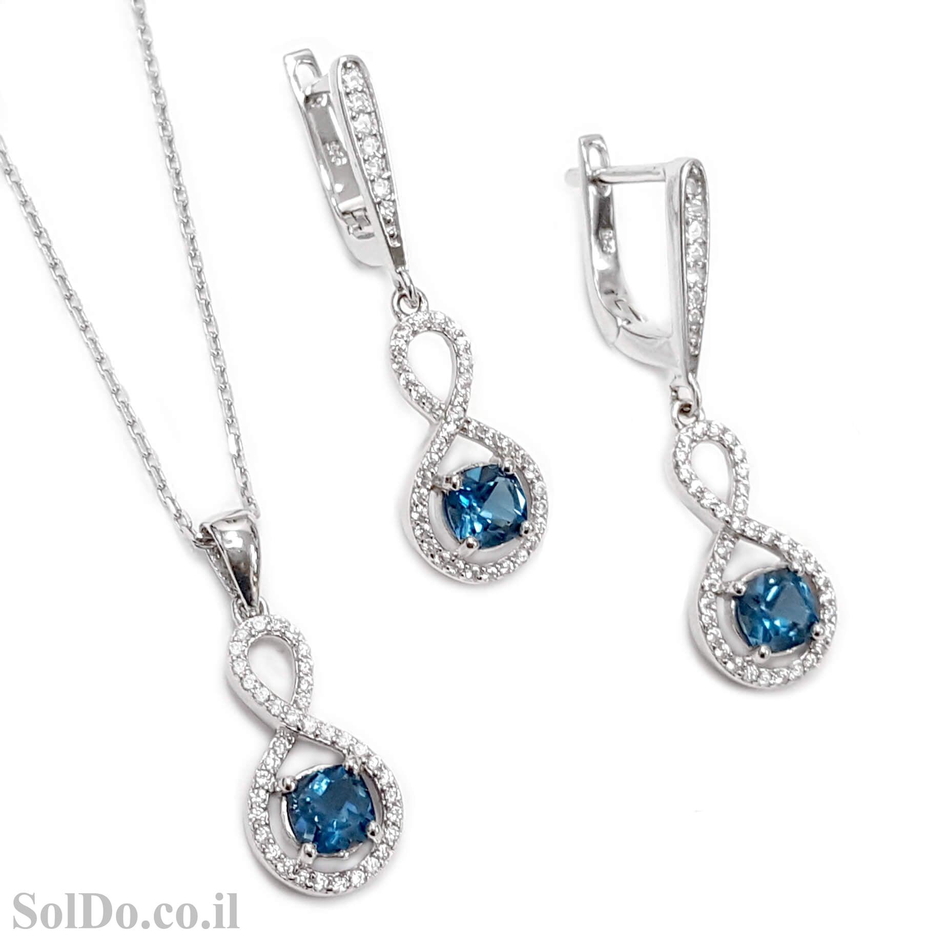 עגילים תלויים ותליון מכסף משובצים אבני טופז כחולות וזרקונים S1577