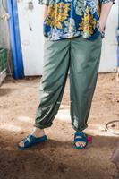 מכנסיים מדגם נור עם משבצות קטנטנות בצבע ירוק